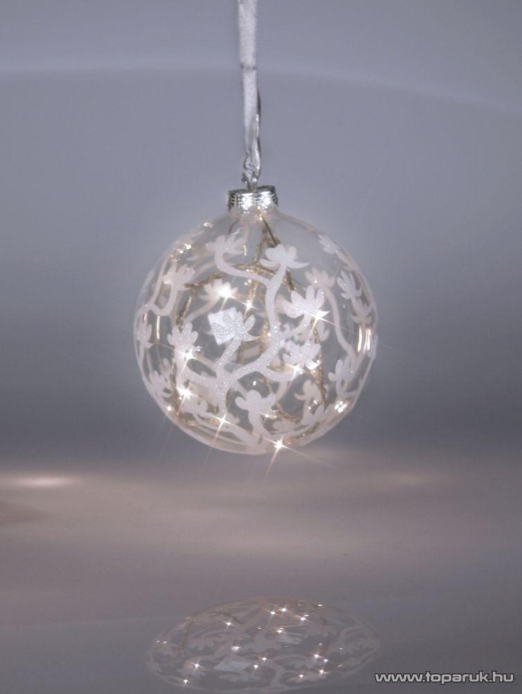Design Dekor KST 941 Beltéri átlátszó világító üveggömb, fehér - készlethiány
