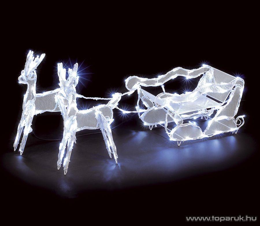 Kültéri 3D-s világító Szarvasok szánnal, fehér csőfény - készlethiány