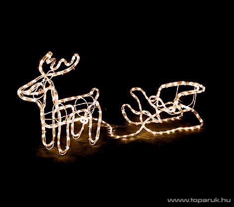 Kültéri 140 LED-es 3D-s világító rénszarvas szánnal, fehér fényű világítással, 160 cm x 65 cm