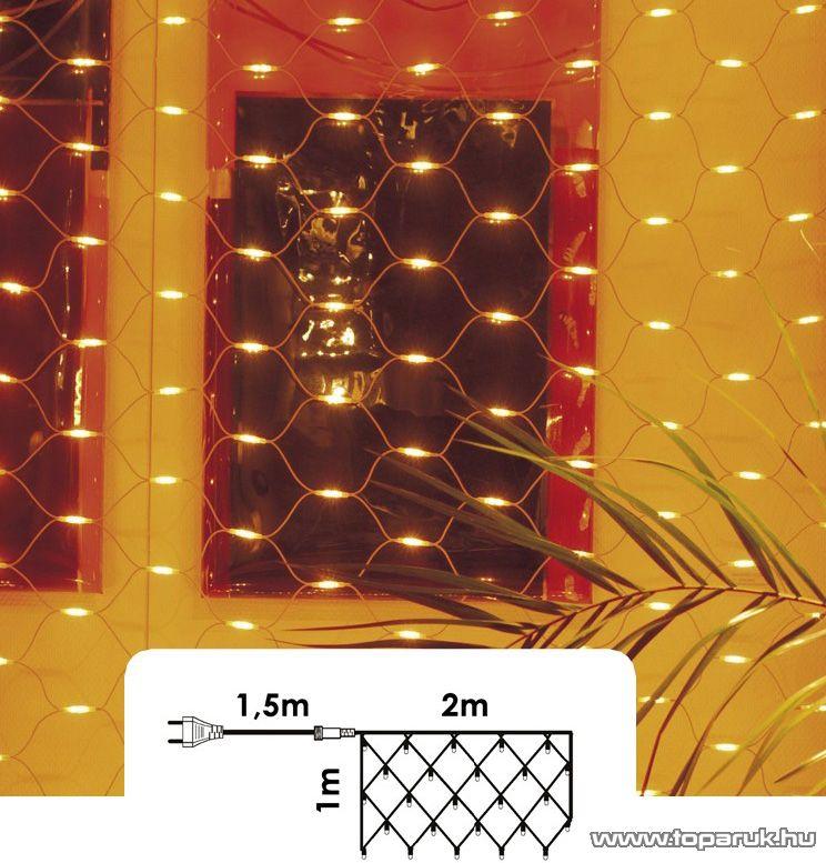 NORTEX KMN 002 Beltéri toldható fényháló, 100 x 200 cm, 100 db meleg fehér égővel - készlethiány