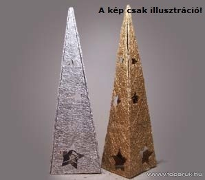 Design Dekor KMK 010 Világító gúla, 13 x 13 x 40 cm, ezüst