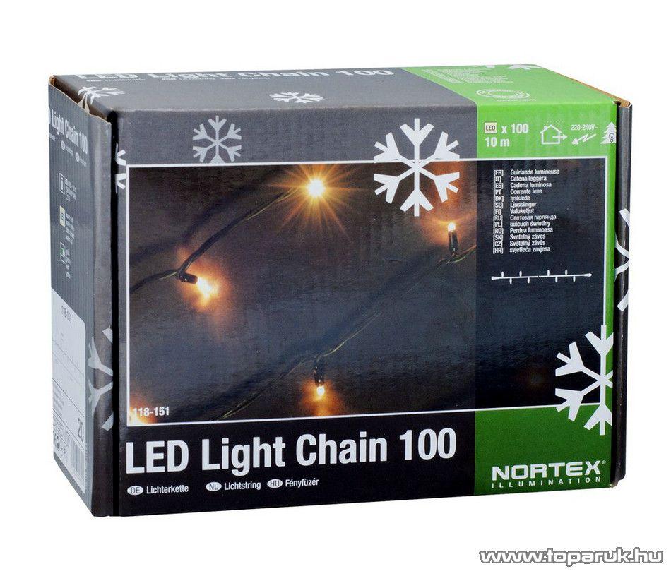 NORTEX KMN 065 Kültéri toldható LED-es fényfüzér, 10 m hosszú, 100 db melegfehér LED-del - készlethiány