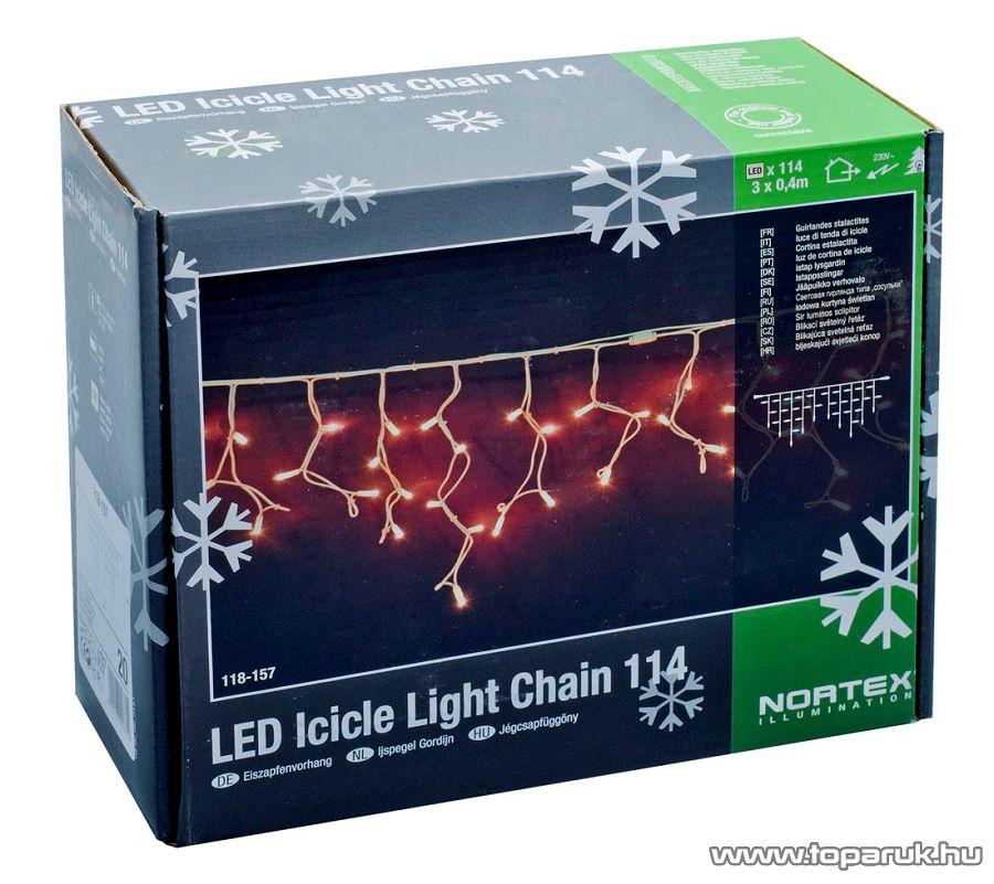 NORTEX KMN 068 Kültéri toldható LED-es jégcsapfüzér, 3x0,4m, hidegfehér - készlethiány