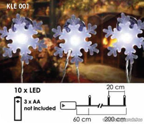Design Dekor KLE 001 Tapadókorongos hópelyhek fényfüzér, LED-es, elemes