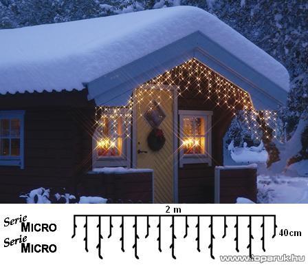 SERIE MICRO KST 572 Kültéri micro izzós jégcsapfüzér, 200 x 40 cm, 100 db fehér égővel