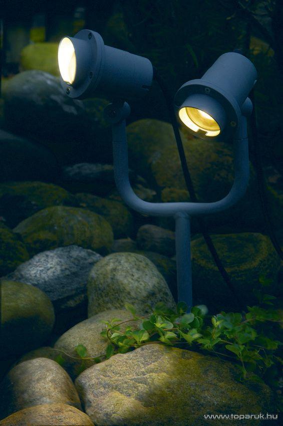 SYSTEM EXPO GARDEN GAR 602 Kültéri földbe szúrható dupla kerti spotlámpa fókusz árnyékolóval EXTRA, 54 cm - készlethiány