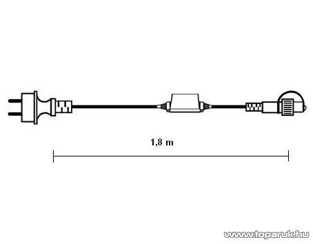 SYSTEM LED KST 528 kiegészítő betápkábel START, 1,8 m, 3W/0sm