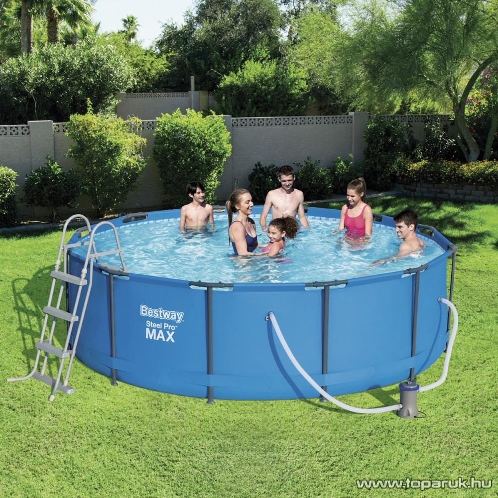 Bestway ELBA Fémvázas kerti medence vízforgatóval és létrával, 366 x 100 cm