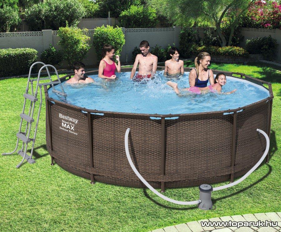 Bestway MYKONOS Fémvázas, rattan hatású kerti medence vízforgatóval és létrával, 366 x 100 cm - készlethiány