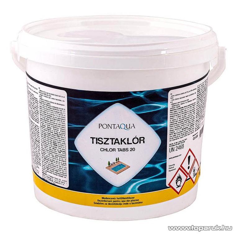 PoolTrend / PontAqua CHLOR TABS 20 (tisztaklór) medence fertőtlenítő tabletta, klóros, 3 kg (150 db tabletta)