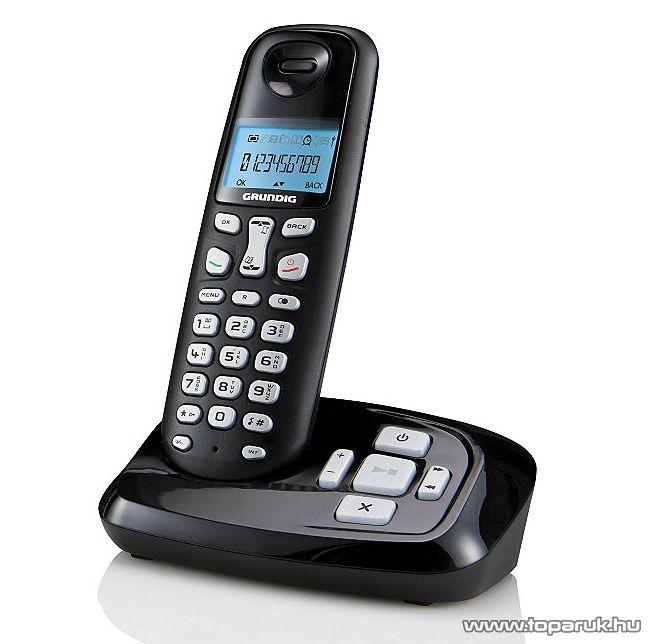 Grundig D160A DECT üzenetrögzítős vezetéknélküli telefon, fekete - készlethiány