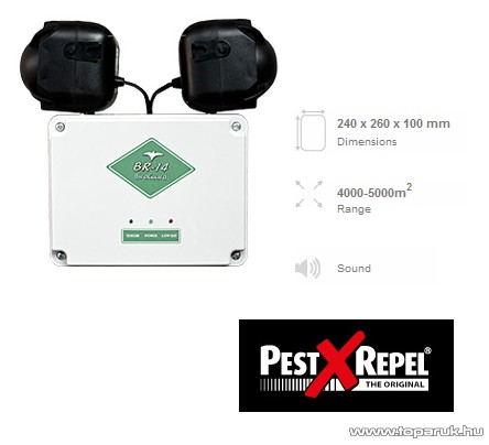 PestXRepel BR-14 Szónikus elektronikus madárriasztó 12V / 230V 5000m2