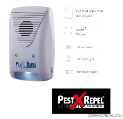 PestXRepel PR-500.3 Kombinált rágcsálóriasztó fény-, ultrahang- és elektromágneses riasztás 220 m2