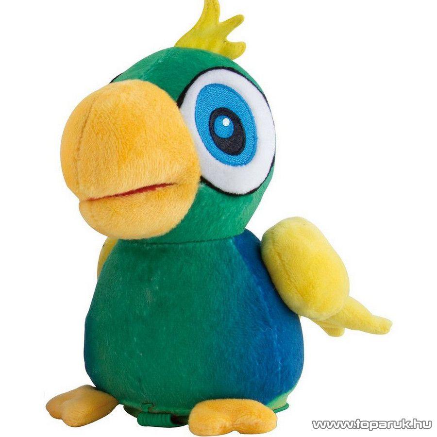 Benny a beszélő papagáj, interaktív plüss papagáj kalitkában