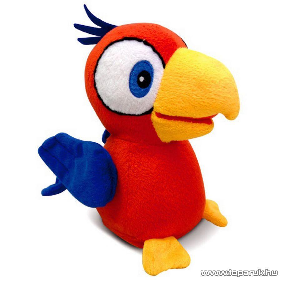 Charlie a beszélő papagáj, interaktív plüss, piros kalitkában