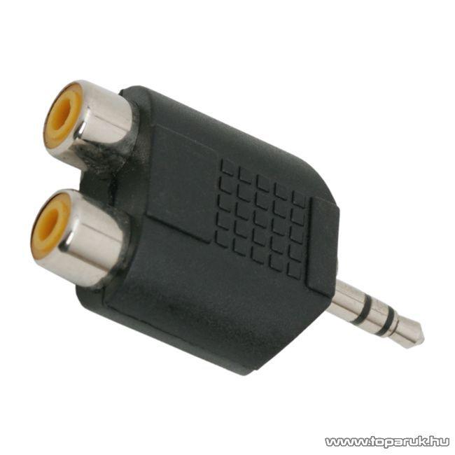 RCA / JACK Y-átalakító, 2 x RCA aljzat - 3,5 JACK dugó (stereo), 1 db (05098X)
