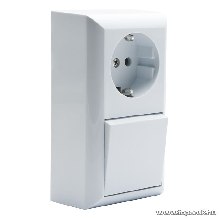 Falon kívüli beltéri váltókapcsoló dugaljal, fehér, 230V, 50Hz, 10A (05914)