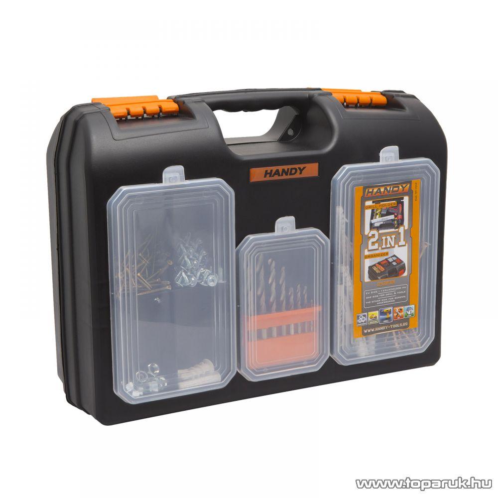 2 az 1-ben műanyag fúró + alkatrész tároló táska, 155 x 400 x 300 mm (10958)