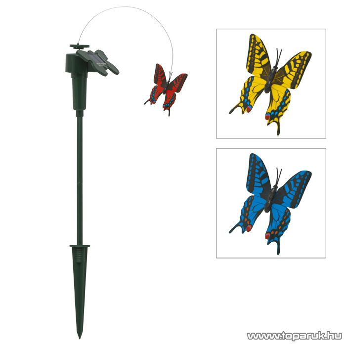 LED-es napelemes kerti dekoráció, szolár lámpa, repkedő pillangó design, piros (11387R) - megszűnt termék: 2016. november