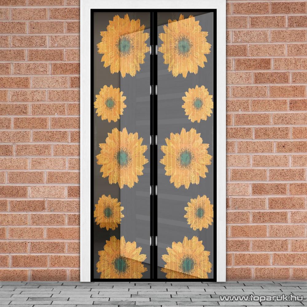 Mosható szúnyogháló függöny ajtóra, mágnessel záródó, 100 x 210 cm (mágneses szúnyogháló), napraforgós mintás