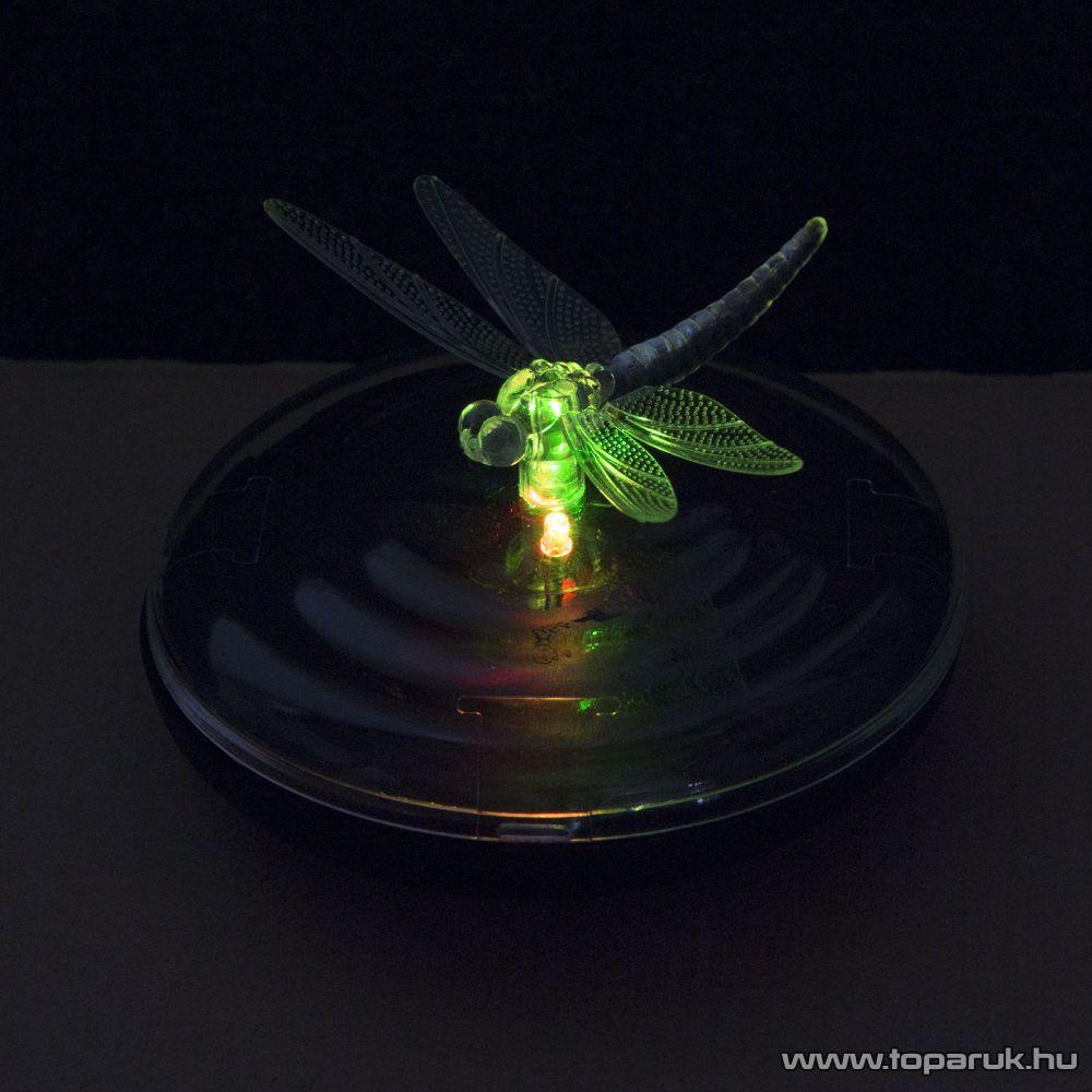 Szolár LED-es napelemes kerti tavilámpa, szitakötő, 10 cm (11424)
