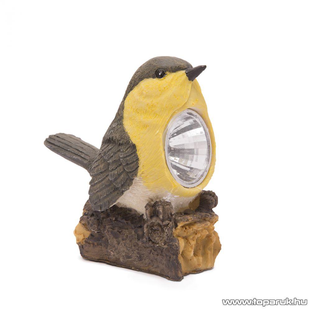 LED-es napelemes szolár világítás, állatfigura design, barna-sárga madárka