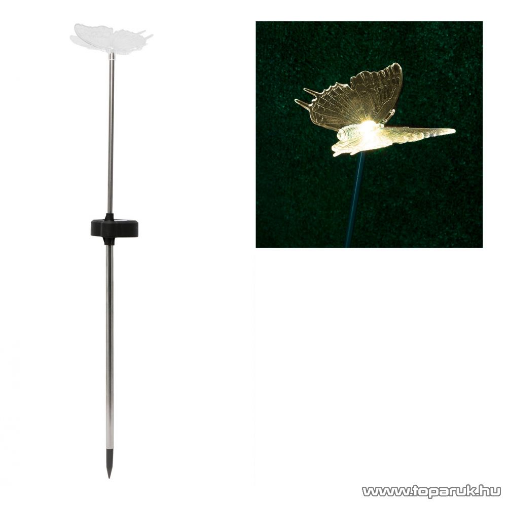 LED-es napelemes kerti dekoráció, szolár lámpa, pillangó design (11429A)