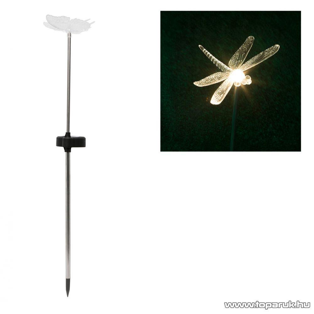 LED-es napelemes kerti dekoráció, szolár lámpa, szitakötő design (11429A)