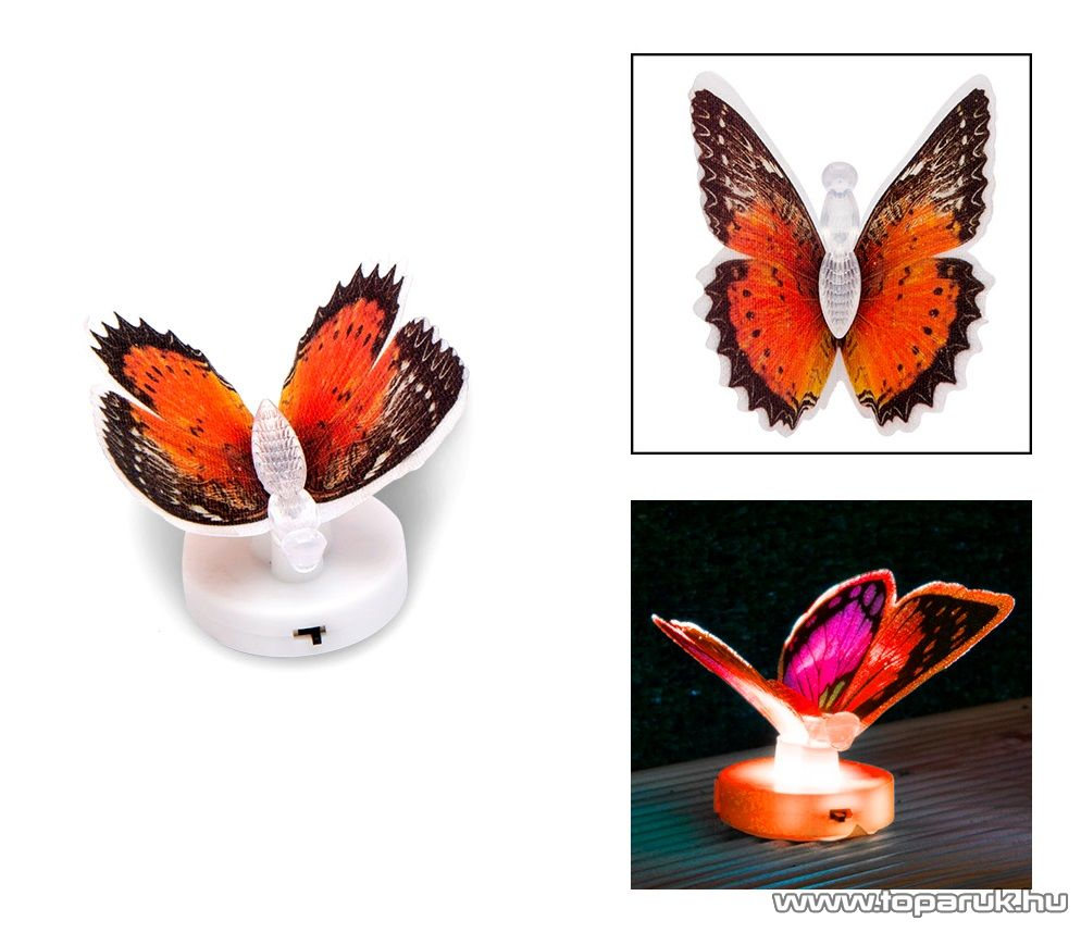 delight 11434-03 Beltéri elemes LED-es világító pillangó dísz, 1 db színváltós LED-del (piros)