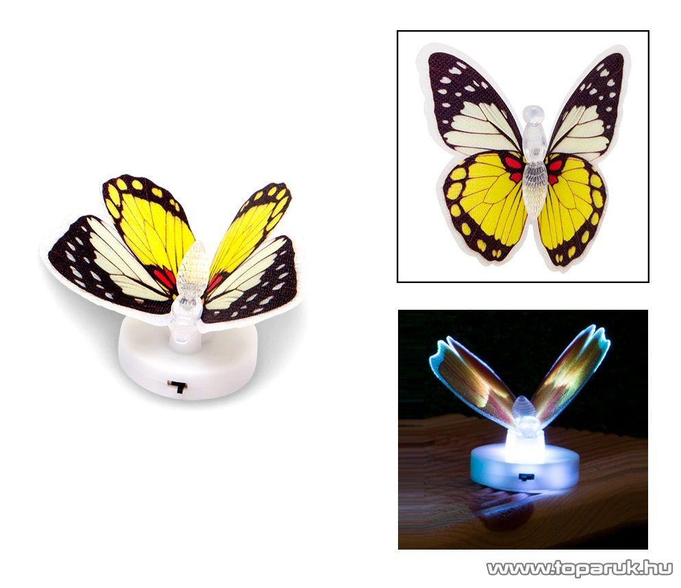 delight 11434-04 Beltéri elemes LED-es világító pillangó dísz, 1 db színváltós LED-del (sárga) - megszűnt termék: 2016. június