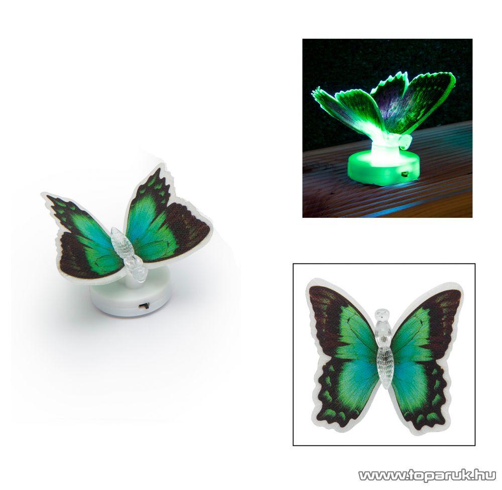 delight 11434-06 Beltéri elemes LED-es világító pillangó dísz, 1 db színváltós LED-del (zöld)