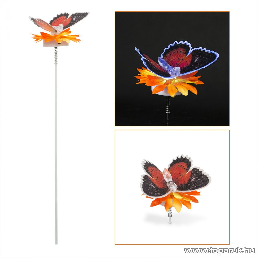 Szolár LED-es napelemes kerti lámpa, színváltó pillangó, 55 cm (11434A) - készlethiány
