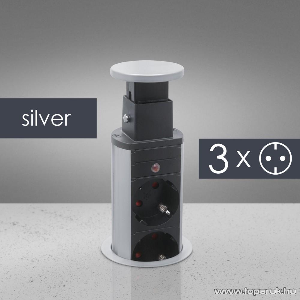 Rejtett elosztó 3-as, 1,5 m vezetékkel, ezüst (20430S)