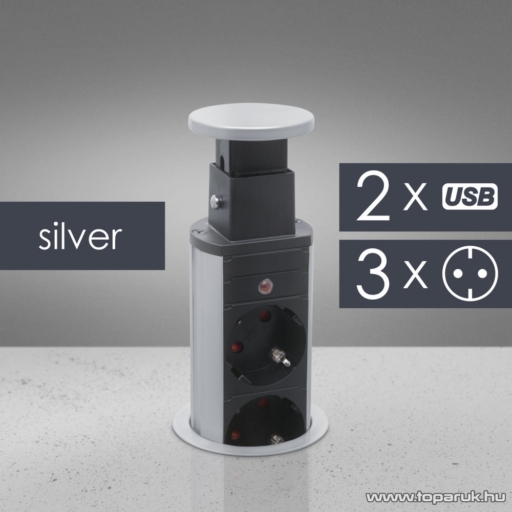 Rejtett elosztó 3-as, 1,5 m vezetékkel, 2 db USB csatalkozóval, ezüst (20430SU)