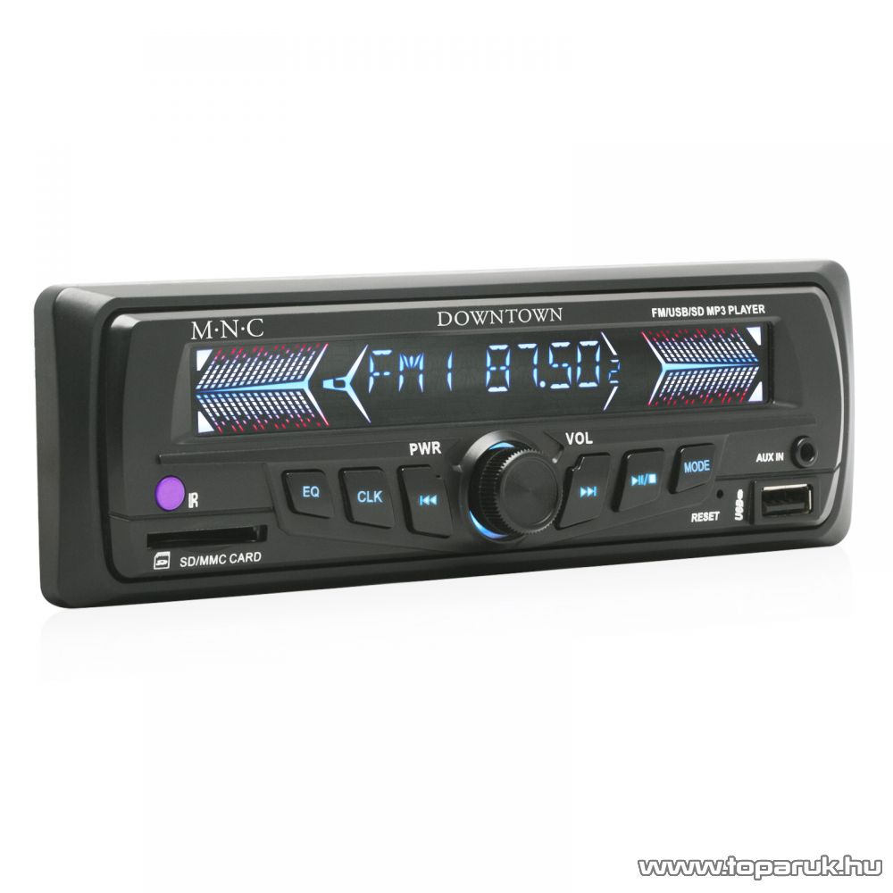 M.N.C Downtown INNOCD MP3-as autórádió fejegység USB/SD/MMC kártyaolvasóval, fekete (39710BK)
