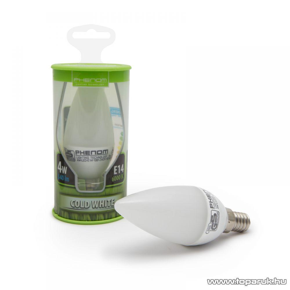 Phenom Led-es energiatakarékos izzó, 4W-os, E14 foglalatba, meleg fehér fényű (40100W)