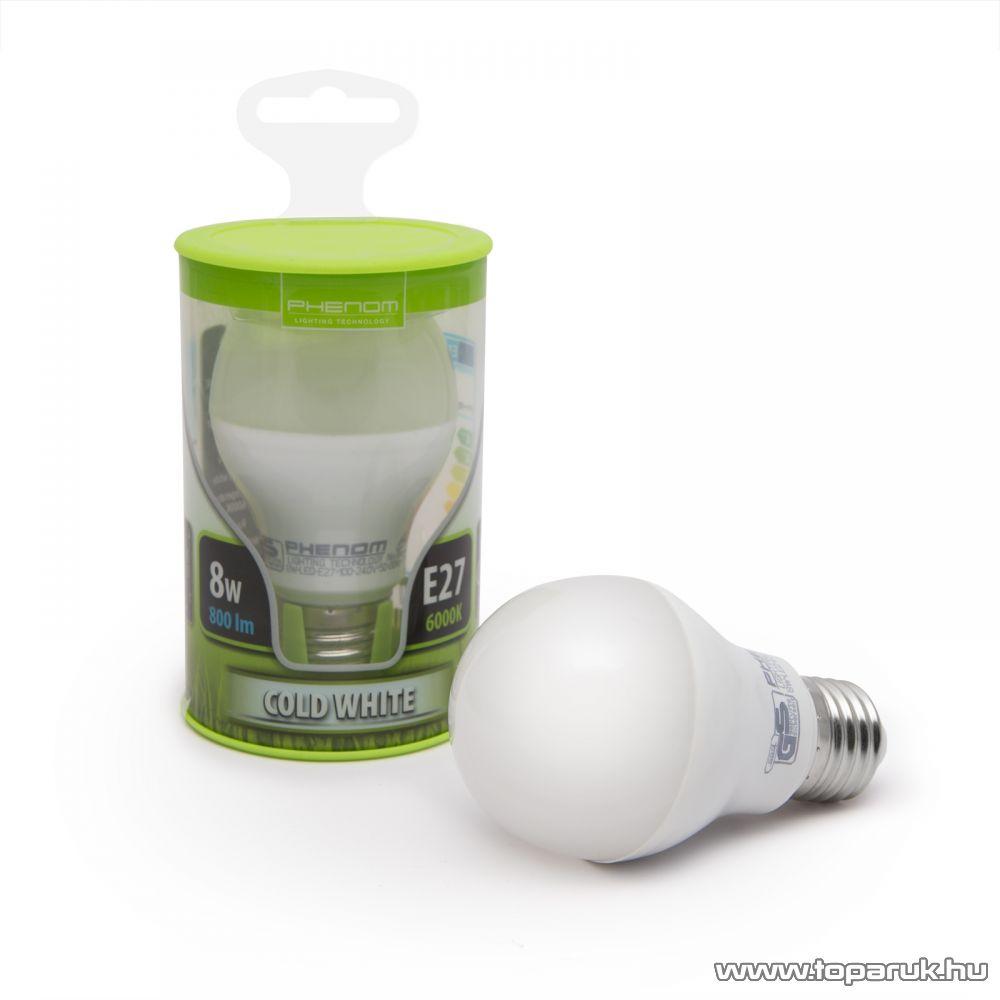 Phenom Led-es energiatakarékos izzó, 8W-os, E27 foglalatba, hideg fehér fényű (40201C)