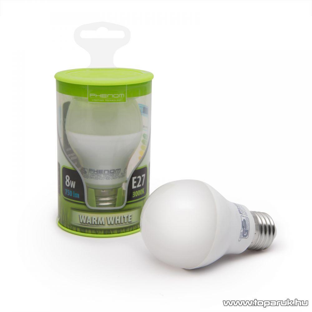 Phenom Led-es energiatakarékos izzó, 8W-os, E27 foglalatba, meleg fehér fényű (40201W)