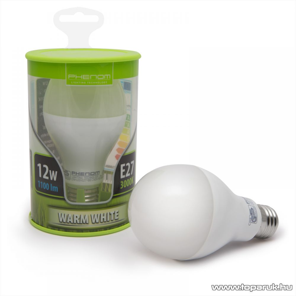 Phenom Led-es energiatakarékos izzó, 12W-os, E27 foglalatba, meleg fehér fényű (40203W)
