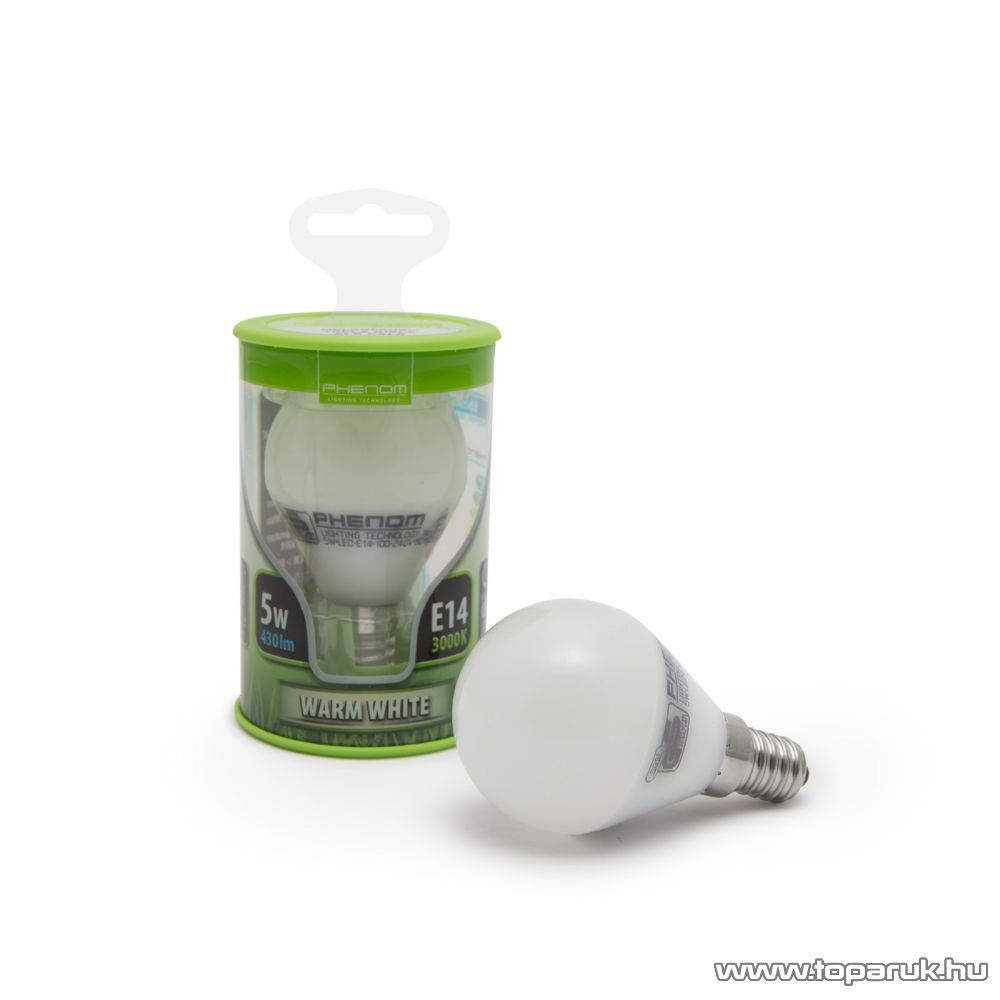 Phenom Led-es energiatakarékos izzó, 5W-os, E14 foglalatba, meleg fehér fényű (40221W)