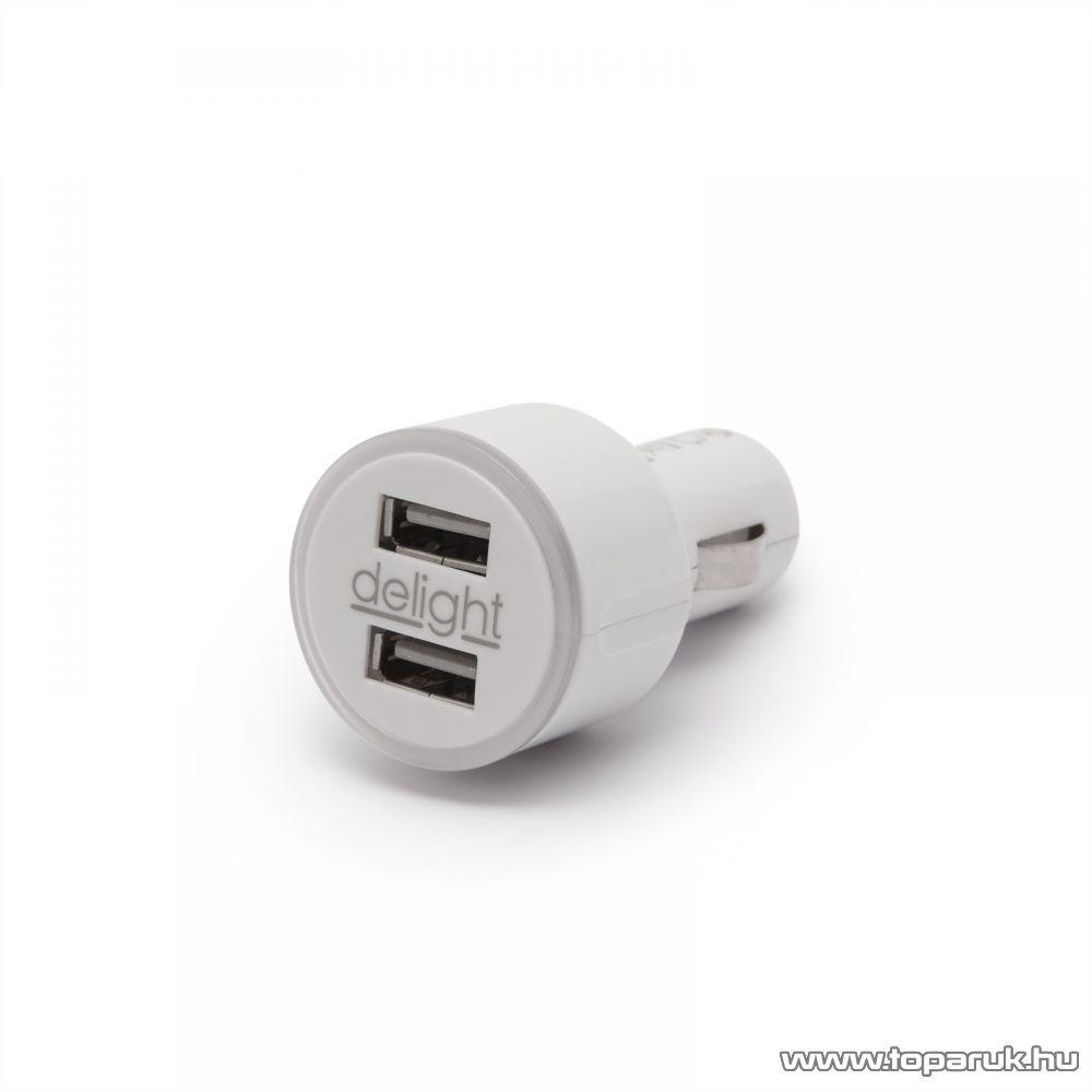 Autós szivargyújtó adapter 2 USB aljzattal, fehér