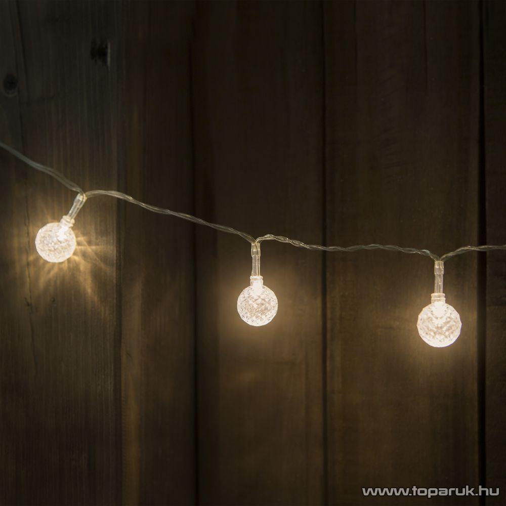 Design Decor 55236C Beltéri 10 LED-es elemes fényfüzér, kristály gömbök, meleg fehér fényű világítással, 120 cm