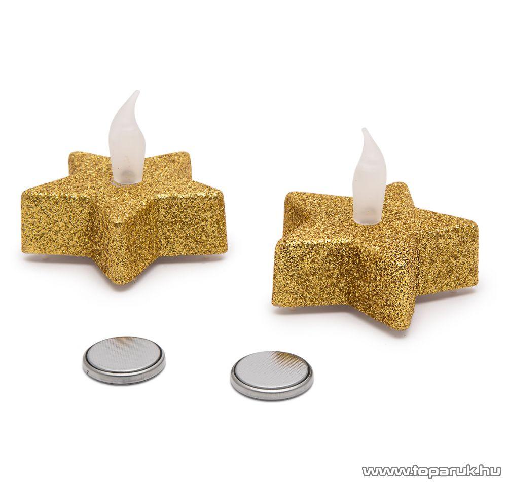 Beltéri elemes Csillámos, csillag alakú LED-es teamécses szett (2 db), pislákoló fényjáték, arany színű mécsesek (55244/GL)
