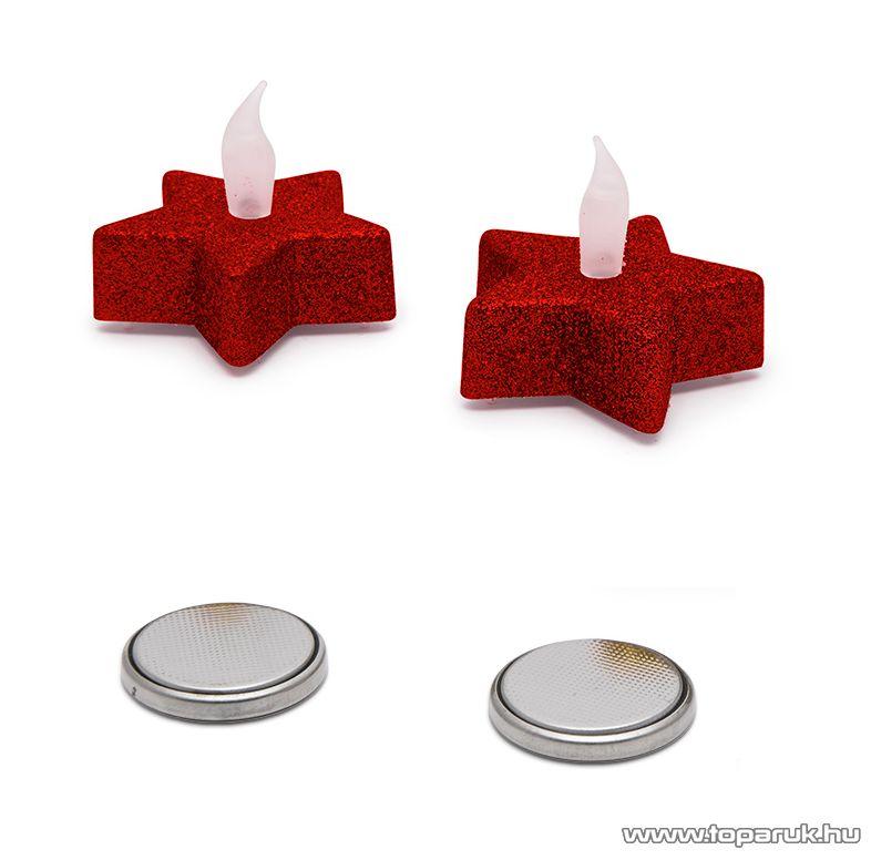 Beltéri elemes Csillámos, csillag alakú LED-es teamécses szett (2 db), pislákoló fényjáték, piros színű mécsesek (55244/RD)
