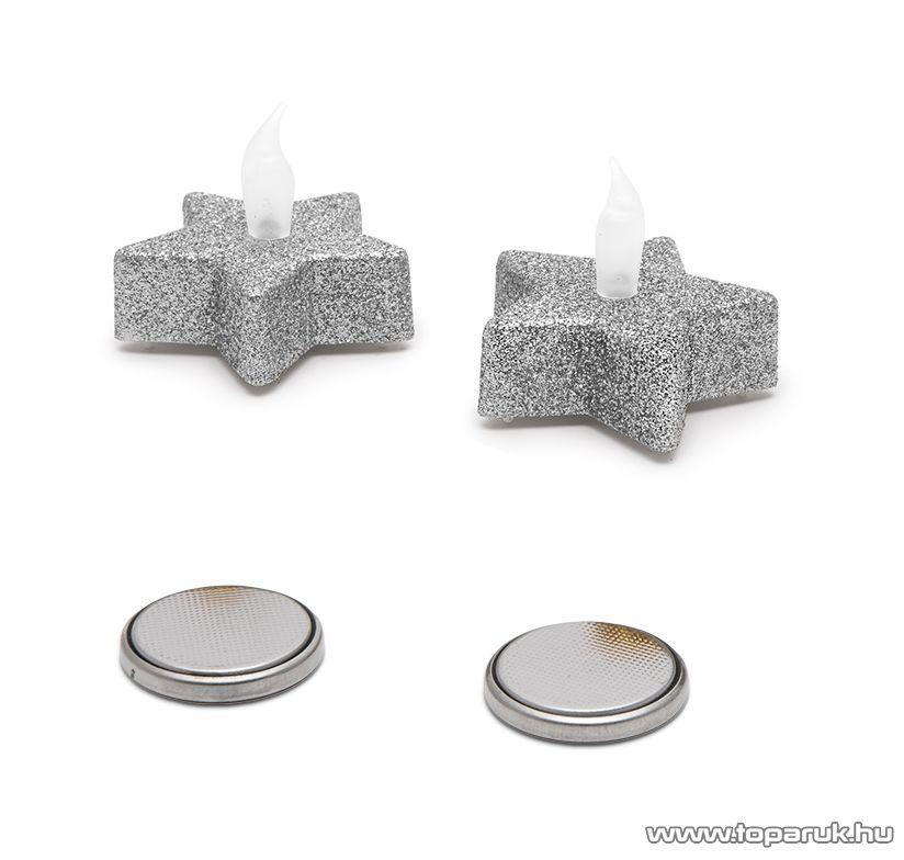 Beltéri elemes Csillámos, csillag alakú LED-es teamécses szett (2 db), pislákoló fényjáték, ezüst színű mécsesek (55244/SL)