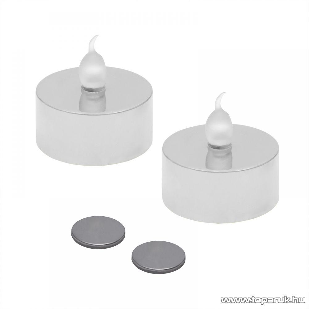 Beltéri elemes LED teamécses szett (2 db), pislákoló fényjáték, ezüst színű mécsesek (55245/SL)
