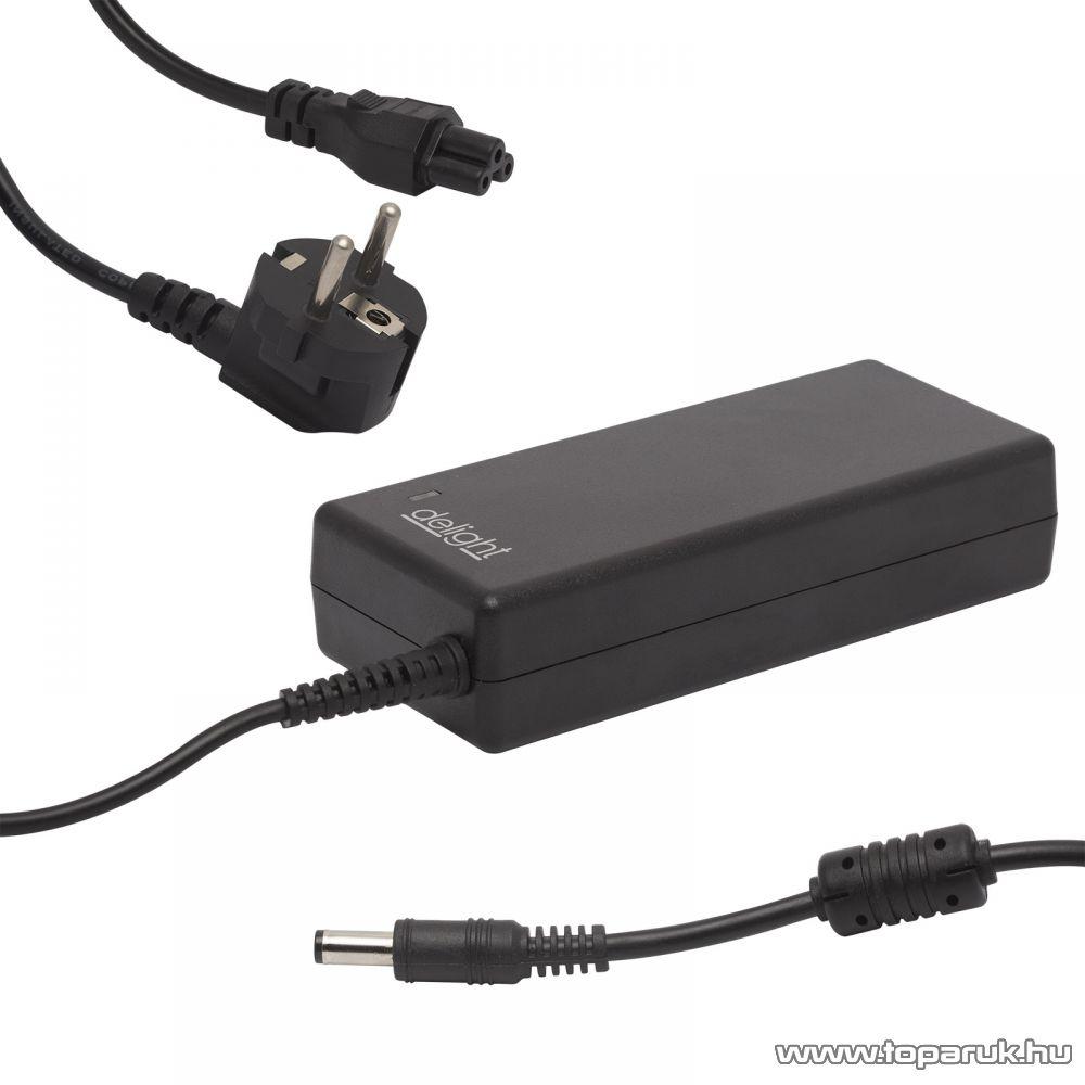 Delight univerzális laptop / notebook töltő adapter tápkábellel, 19V / 4,72A, 5,5mm / 2,5mm, 90W (55365)