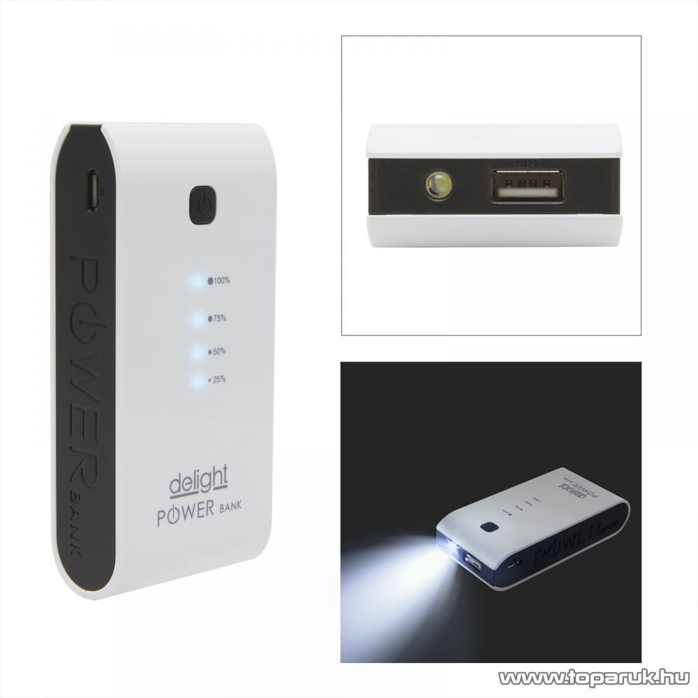 Delight Power bank hordozható, újratölthető, univerzális energiaforrás, univerzális külső akkumulátor, LED világítással, 3200 mAh, fehér (55382)