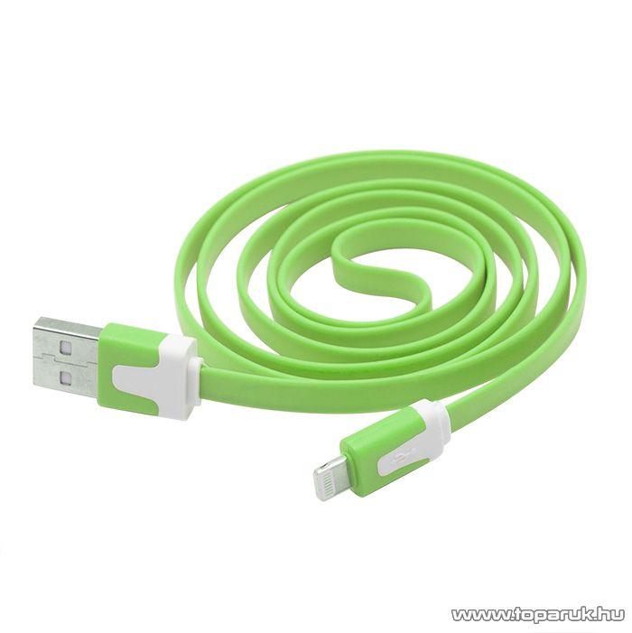 iPhone, iPod, iPad USB adat és töltőkábel, 1,2 m, zöld (55424GR) - megszűnt termék: 2015. január