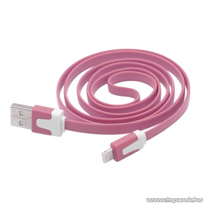 iPhone, iPod, iPad USB adat és töltőkábel, 1,2 m, pink (55424PK) - megszűnt termék: 2015. január